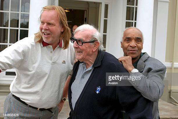 Rick Wakeman Eric Sykes and Kenny Lynch at the SPARKS Rick Wakeman Golf Day held at Burhill Golf club Hersham 11th August 2006 Job 14154
