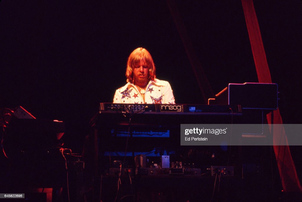 Rick Wakeman performs with Yes at the Oakland Coliseum in Oakland, California on September 21, 1977