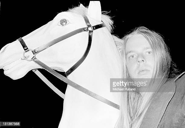 Rick Wakeman portrait with model horse from his King Arthur on Ice stage show Wembley Empire Pool London May 1975
