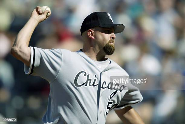 Rick White of the Chicago White Sox throws a pitch during the game against the Kansas City Royals at Kauffman Stadium on April 2 2003 in Kansas City...
