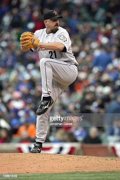 Rick White of the Houston Astros delivers the pitch against the Chicago Cubs during the Cubs home opener at Wrigley Field April 9 2007 in Chicago...