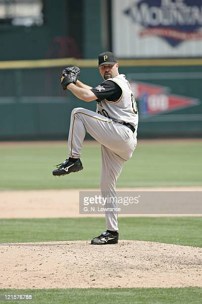 Rick White of the Pittsburgh Pirates pitches in the 10th inning during a game against the St Louis Cardinals at Busch Stadium in St Louis Mo on June...