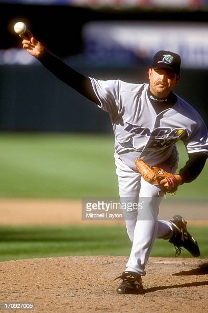 Rick White of the Tampa Bay Devil Rays pitches during a baseball game against the Baltimore Orioles on April 20 2000 at Camden Yards in Baltimore...