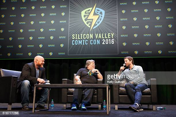 Rick White Steve Wozniak and actor Jon Heder answer questions from the crowd during the closing panel of the Silicon Valley Comic Con on March 20...