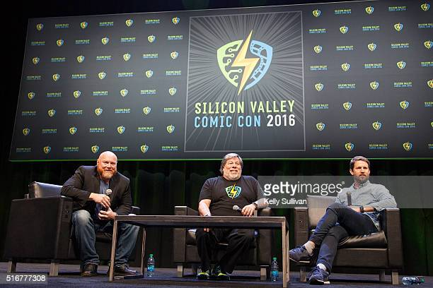 Rick White Steve Wozniak and actor Jon Heder speak onstage to close out the last day of the Silicon Valley Comic Con on March 20 2016 in San Jose...
