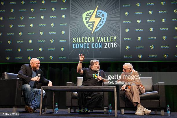 Rick White Steve Wozniak and Stan Lee answer questions from the crowd during the closing panel of the Silicon Valley Comic Con on March 20 2016 in...