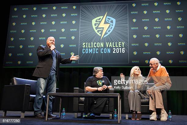 Rick White Steve Wozniak Joan Celia Lee and Stan Lee answer questions from the crowd during the closing panel of the Silicon Valley Comic Con on...