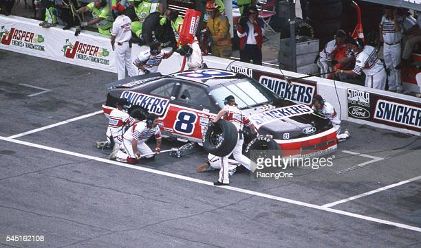 Rick Wilson driver of the Snickers Ford pits during the Daytona 500 at Daytona International Speedway on February 16 1992 in Daytona Beach Florida