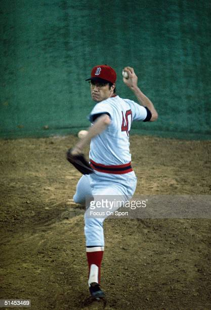 Rick Wise of the Boston Red Sox pitches against the Cincinnati Reds during the World Series at Fenway Park in Boston Massachusetts in October of 1975