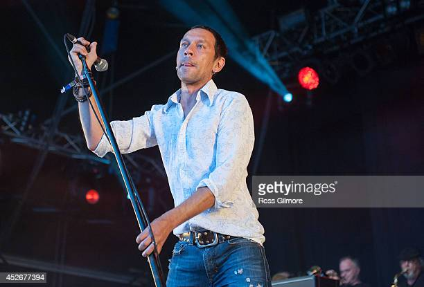 Rick Witter of Shed Seven performs on stage at Wickerman Festival at Dundrennan on July 25 2014 in Dumfries United Kingdom