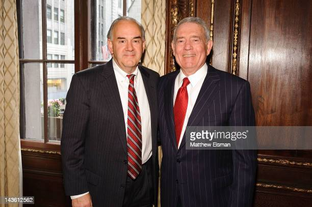 Rick Wolff and Dan Rather attend the 'Rather Outspoken My Life In The News' book launch party at the Drawing Room at the New York Palace Hotel on...