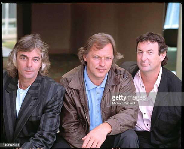 Rick Wright David Gilmour and Nick Mason of Pink Floyd portrait London May 1988
