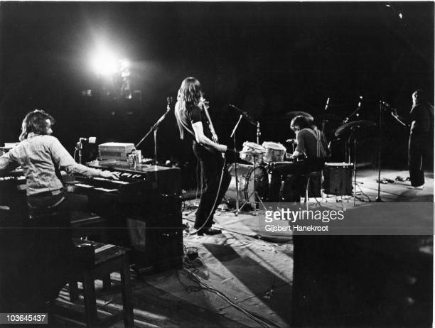 Rick Wright, Roger Waters, Nick Mason and David Gilmour of Pink Floyd perform on stage at the Olympisch Stadion on 22nd May 1972 in Amsterdam,...