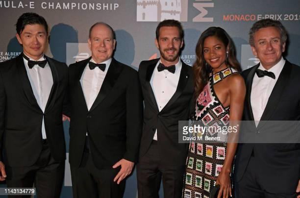 Rick Yune Albert II Prince of Monaco 2019 Monaco EPrix winner JeanEric Vergne Naomie Harris and Formula E CEO Alejandro Agag attend The ABB FIA...