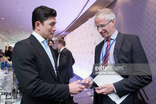 Rick Yune and Bernd Doepke attend the third day of the CGDC Annual Meeting on May 18 2012 in Vienna Austria The Center for Global Dialogue and...