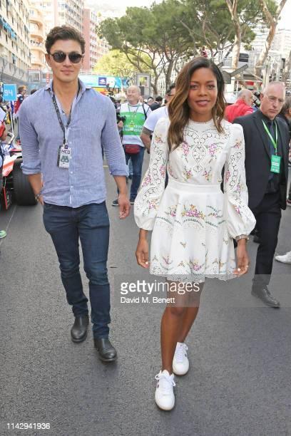 Rick Yune and Naomie Harris attend The ABB FIA Formula E 2019 Monaco EPrix on May 11 2019 in Monaco