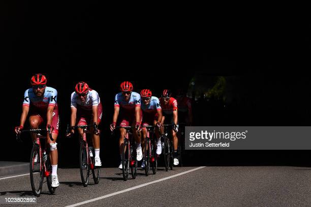 Rick Zabel of Germany / Nils Politt of Germany White Best Young Jersey / Dmitry Strakhov of Russia / Jenthe Biermans of Belgium and Team Katusha -...