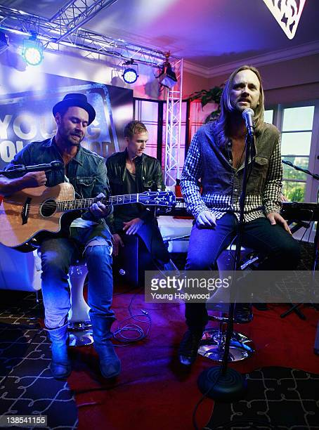 Rickard Gšransson Peter Carlsson Johan Carlssonof and Chad Wolf Carolina Liar at the Young Hollywood Studio on February 8 2012 in Los Angeles...