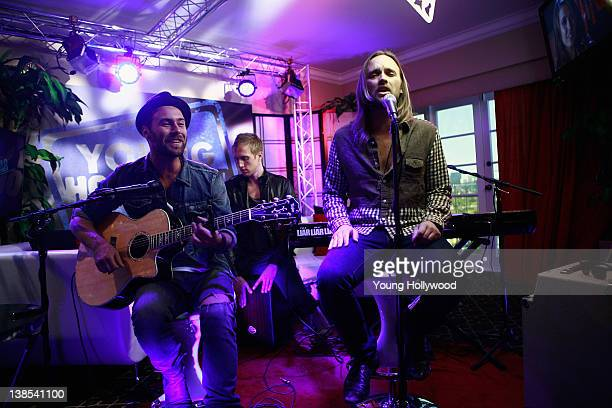 Rickard Gšransson Peter Carlsson Johan Carlssonof and Chad Wolf of Carolina Liar at the Young Hollywood Studio on February 8 2012 in Los Angeles...