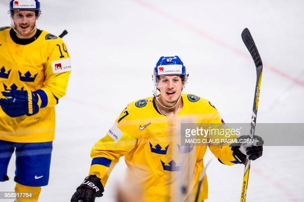 Rickard Rakell of Sweden celebrates after scoring during the group A match Russia v Sweden of the 2018 IIHF Ice Hockey World Championship at the...