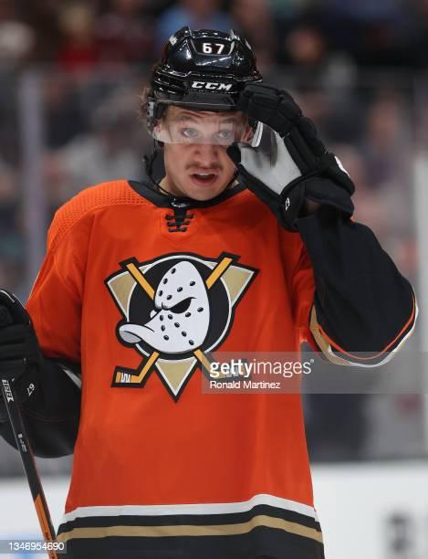 Rickard Rakell of the Anaheim Ducks at Honda Center on October 15, 2021 in Anaheim, California.