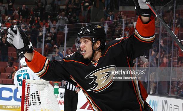 Rickard Rakell of the Anaheim Ducks celebrates his first period goal during the game against the San Jose Sharks on December 9 2016 at Honda Center...