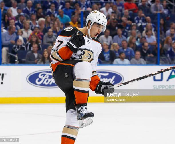 Rickard Rakell of the Anaheim Ducks celebrates his goal against the Tampa Bay Lightning during the second period at Amalie Arena on October 28 2017...