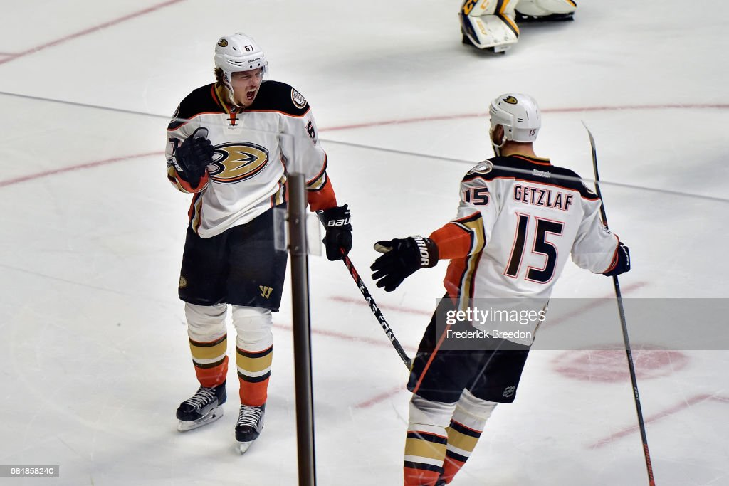 Rickard Rakell #67 of the Anaheim Ducks celebrates with Ryan Getzlaf #15 after scoring a goal against Pekka Rinne #35 of the Nashville Predators (not pictured) during the first period in Game Four of the Western Conference Final during the 2017 Stanley Cup Playoffs at Bridgestone Arena on May 18, 2017 in Nashville, Tennessee.