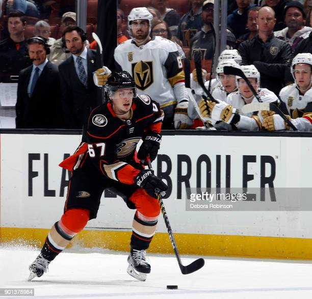 Rickard Rakell of the Anaheim Ducks controls the puck against the Vegas Golden Knights on December 27 2017 at Honda Center in Anaheim California