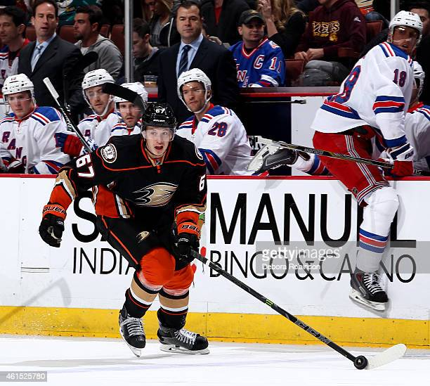 Rickard Rakell of the Anaheim Ducks handles the puck against the New York Rangers on January 7 2015 at Honda Center in Anaheim California