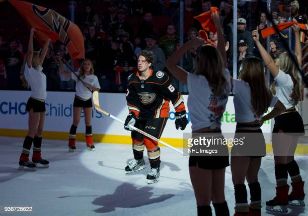 Rickard Rakell of the Anaheim Ducks is recognized as the first star of the game after defeating New Jersey Devils 42 during the game at Honda Center...