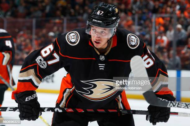 Rickard Rakell of the Anaheim Ducks lines up for a faceoff during the game against the Philadelphia Flyers on October 7 2017 at Honda Center in...