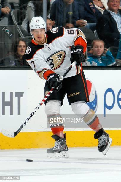 Rickard Rakell of the Anaheim Ducks passes the puck during a NHL game against the San Jose Sharks at SAP Center on November 20 2017 in San Jose...