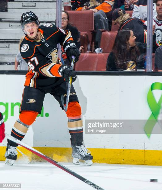 Rickard Rakell of the Anaheim Ducks passes the puck during the third period of the game against the New Jersey Devils at Honda Center on March 18...
