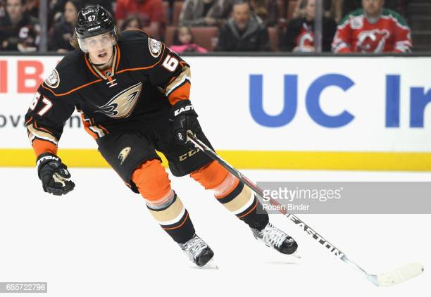 Rickard Rakell of the Anaheim Ducks plays in the game against the New Jersey Devils at Honda Center on March 14 2016 in Anaheim California