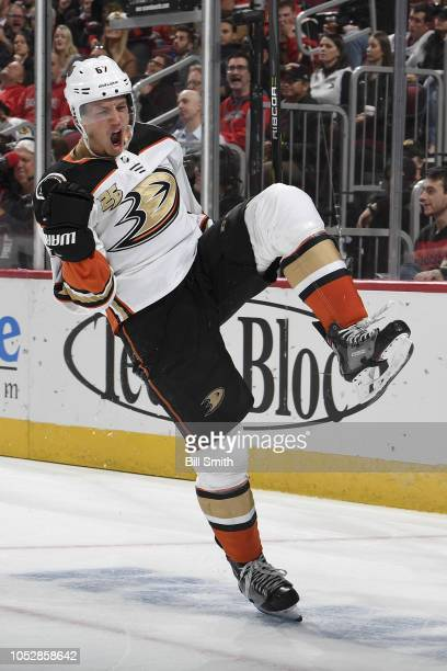 Rickard Rakell of the Anaheim Ducks reacts after scoring against the Chicago Blackhawks in the second period at the United Center on October 23 2018...