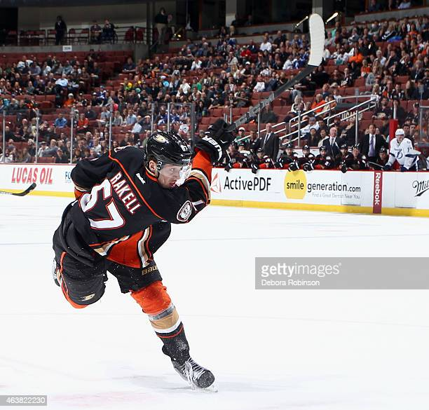 Rickard Rakell of the Anaheim Ducks shoots against the Tampa Bay Lightning on February 18 2015 at Honda Center in Anaheim California