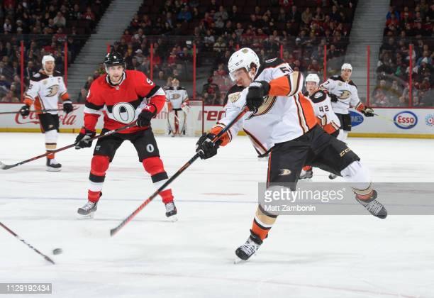 Rickard Rakell of the Anaheim Ducks shoots the puck against the Ottawa Senators at Canadian Tire Centre on February 7, 2019 in Ottawa, Ontario,...