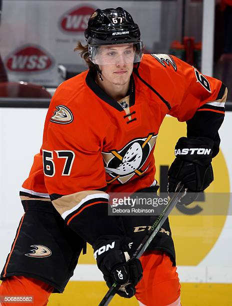 Rickard Rakell of the Anaheim Ducks skates during the game against the Los Angeles Kings on January 17 2016 at Honda Center in Anaheim California