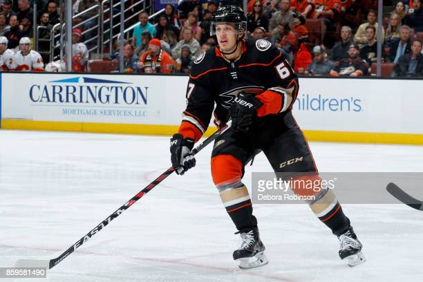 Rickard Rakell of the Anaheim Ducks skates during the game against the Calgary Flames on October 9 2017 at Honda Center in Anaheim California