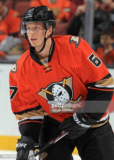 Rickard Rakell of the Anaheim Ducks skates during warmups before the game against the Dallas Stars on January 10 2017 at Honda Center in Anaheim...