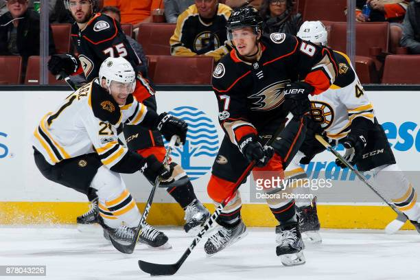 Rickard Rakell of the Anaheim Ducks skates with the puck against Jordan Szwarz of the Boston Bruins during the game on November 15 2017 at Honda...