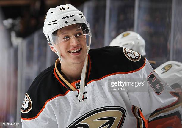Rickard Rakell of the Anaheim Ducks smiles during pregame warmups before the game against the New York Rangers at Madison Square Garden on March 22...