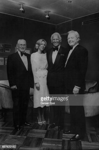 Ricketson Cinema Dedicated Donald R Seawell right chairman of the Denver Center for the Performing Arts gets together with three of his guests at the...