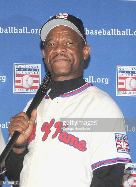 Rickey Henderson attends a press conference for the Baseball Hall of Fame elections at the Waldorf=Astoria on January 13 2009 in New York City