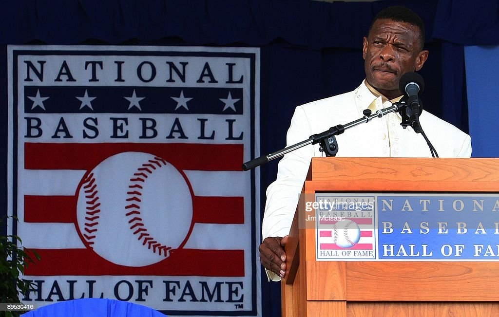 Rickey Henderson gives his induction speech at Clark Sports Center during the Baseball Hall of Fame induction ceremony on July 26, 2009 in Cooperstown, New York. Henderson is the all-time leader in stolen bases (1,406) and runs (2,295), a ten time All-Star, was the 1990 American League most valuable player and won two World Series titles.
