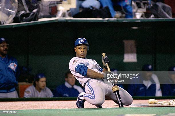 Rickey Henderson of the Toronto Blue Jays warmsup during game 5 of the World Series against the Philadelphia Phillies at Veterans Stadium in...