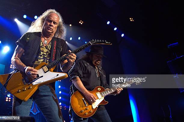 Rickey Medlocke and Gary Rossington of Lynyrd Skynyrd performs at the Verizon Wireless Music Center on June 27 2010 in Noblesville Indiana