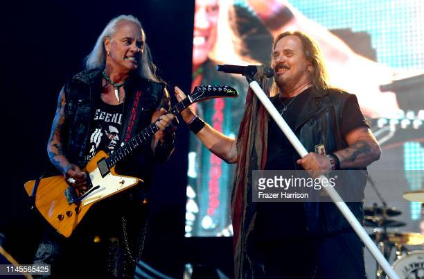 Rickey Medlocke and Johnny Van Zant of Lynyrd Skynyrd perform onstage during the 2019 Stagecoach Festival at Empire Polo Field on April 27 2019 in...