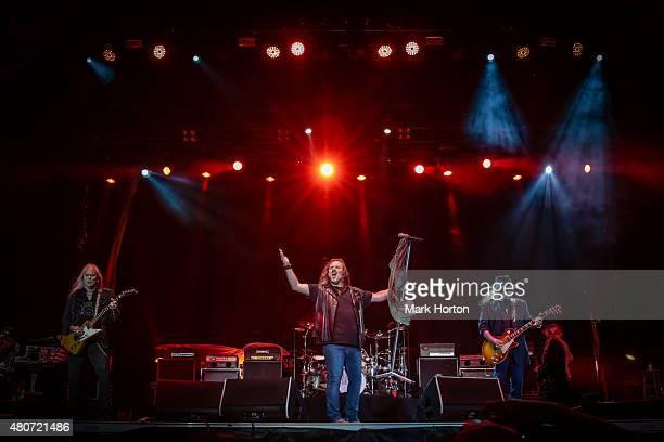 Rickey Medlocke Johnny Van Zant and Gary Rossington of Lynyrd Skynyrd perform on Day 6 of the RBC Royal Bank Bluesfest on July 14 2015 in Ottawa...